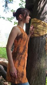 Šaty - Ľanové hnedo-oranžové - 546517