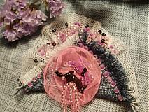 Odznaky/Brošne - jeansová ružová... - 579022