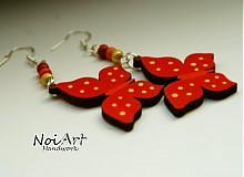 Náušnice - Motýliky červené - 592509