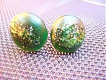 Náušnice - Zelené klipsne - 603933