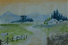 Kresby - teplé farby krajinky - akryl - 605650