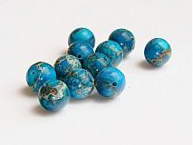 Minerály - Jaspis, modré guličky, 10 mm - 646825