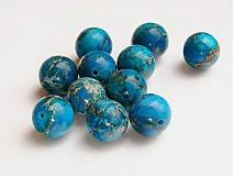 Minerály - Jaspis, modré guličky, 10 mm - 646826