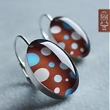 Náušnice - Retro čokoládové s puntíky - stříbro - 652384