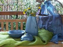 Dekorácie - váza modrá baňatá