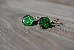 Náušnice - Zelené ligotavé - 671427