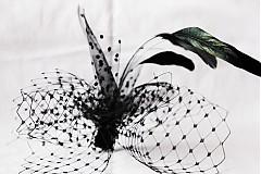Ozdoby do vlasov - Čierna sieťka s pierkami - 685010