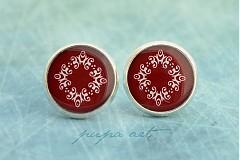 - Červený ornament - napichovacie náušničky - 742753