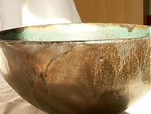 Nádoby - miska zelená, medienková - 752834