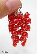 Náušnice - Červené perličky - 754081