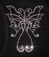 Galantéria - Motýľ z hotfix krištáľov - 768666