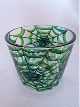 Svietidlá a sviečky - Svietnik na čajovú sviečku - Spider Web (Green) - 817681