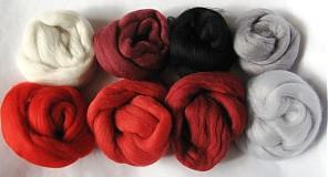 - Merino vlna - biela-červená-čierna 90 g - 825524
