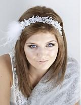 - svadobná čelenka s perím Marabou - 828894