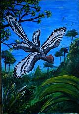Paleoart - akryl na výkrese A3 (rôzne na výber) (Anchiornis huxleyi)