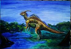 Paleoart - akryl na výkrese A3 (rôzne na výber) (Parasaurolophus)