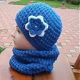 Detské čiapky - Modrá čiapka s kvetinkou - 871879