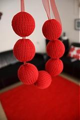 Iné doplnky - Červený pletený náhrdelník - 875136