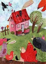 Grafika - Zvedavé vrabce - 890823