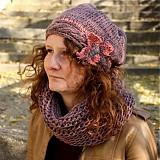 Čiapky - Pani čiapka s kvetom -sivoružová- + nákrčník - 922069