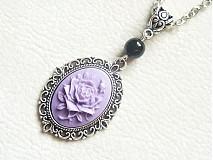 Náhrdelníky - cameo fialová ruža - 927324
