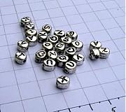 Korálky - Korálka s písmenkom alebo číslicou/ 1 ks - 953617