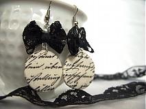 Náušnice - Písané čierne na bielom - 953633