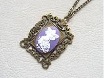 Náhrdelníky - víla vo fialovom rámiku - 974392