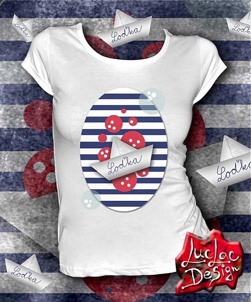 6f22b4745 Námornícke tričko s loďkou / LucLac - SAShE.sk - Handmade Tričká