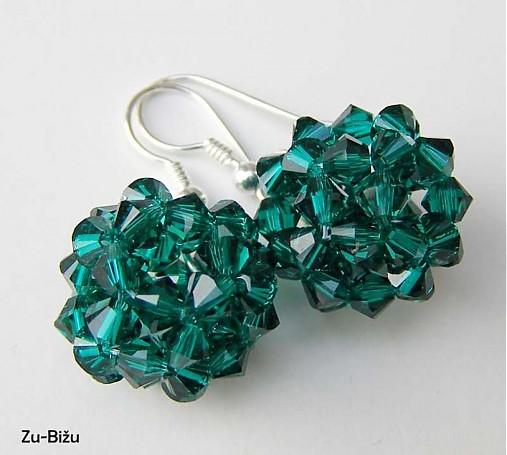 Strieborné náušnice Emerald guličky   zu - SAShE.sk - Handmade Náušnice 10a77b13475