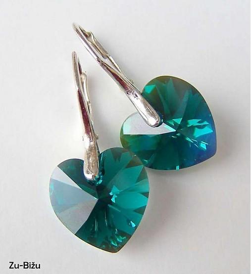 Strieborné náušnice Emerald srdce