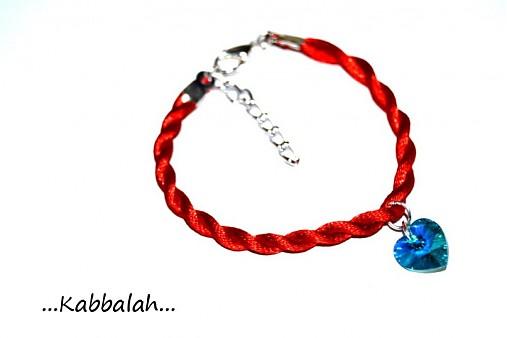kabbalah náramok - SW srdce blue zircon AB