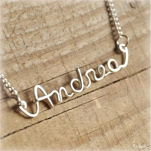 Náhrdelník s menom z postriebreného drôtu  6-8 písmen (Andrea ... 6ab42f664ed