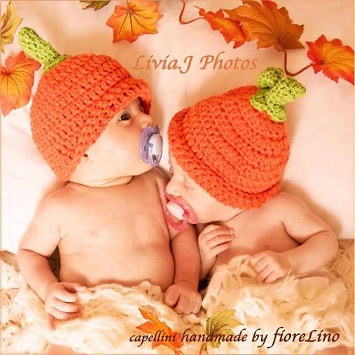 detská čiapka - tekvičky dvojičky