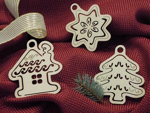 Set vianočných ozdôb - Stromček, domček, hviezda (T2)