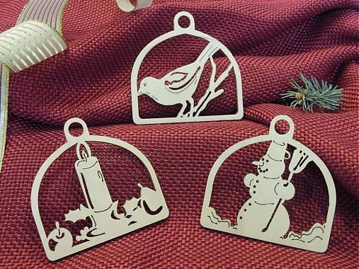 Set vianočných ozdôb - Snehuliak, sviečka, vtáčik (D3)