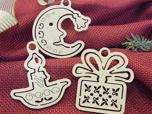 Set vianočných ozdôb - Sviečka, Mesiačik, Darček (T5)