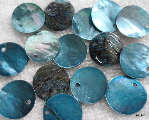 Placička perleť 15mm-1ks (modrá)