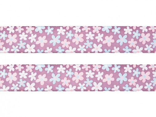 Stuha rypsová 25mm kvietky Pastel Lilac