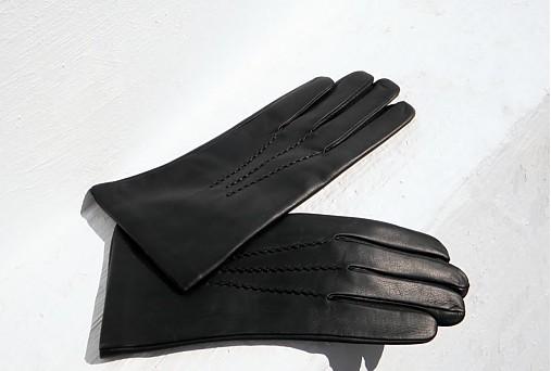 Černé pánské kožené rukavice s hedvábnou podšívkou - celoroční ... 3587e97a61