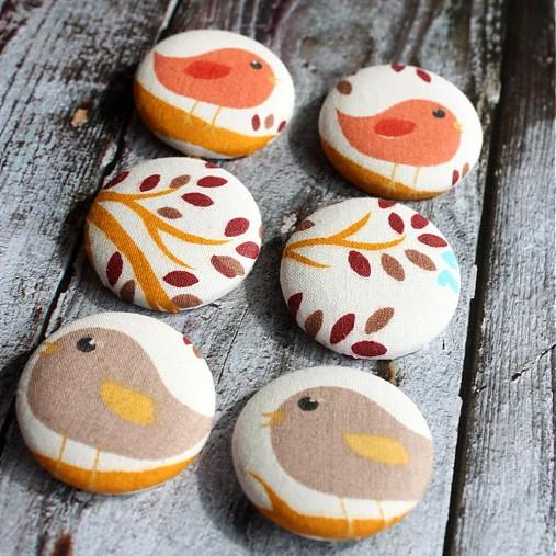 Buttony s vtáčikmi 38 mm