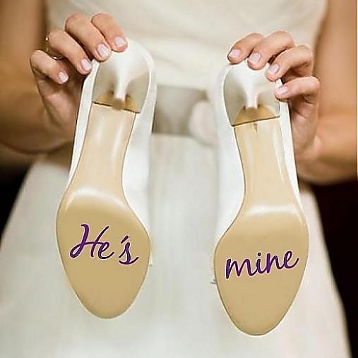 Nálepky na svadobné topánky  he s mine   depingo - SAShE.sk - Handmade 67eb069609a
