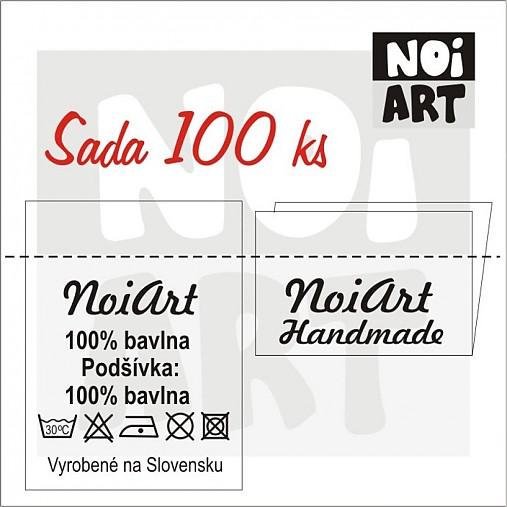 Textilné etikety 3x4 cm sada 100 ks