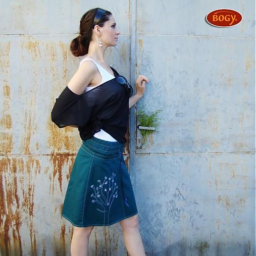 df1c3e6fb24 Petrolejová keprová sukně do gumy   BOGY - SAShE.sk - Handmade Sukne