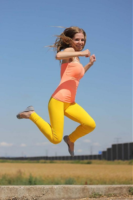 Nohavice - Žlté bavlnené legíny - 2846753