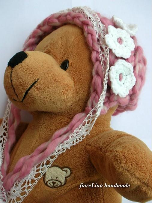 detská čiapka - ružová romantika