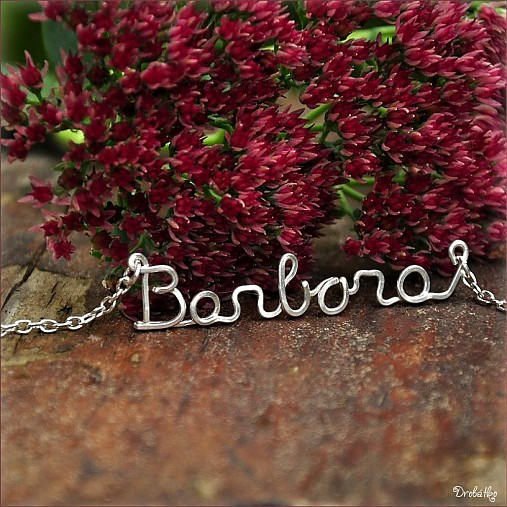 Náhrdelník s menom z postriebreného drôtu  6-8 písmen (Barbora ... c977e4be4b4