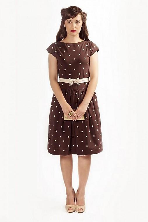 Dot vintage brown...   ZuzanaZachar - SAShE.sk - Handmade Šaty 92ee24bf653