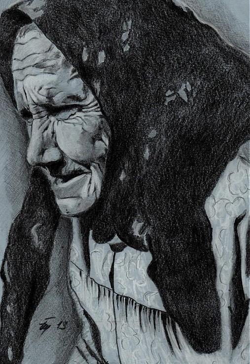 Portret Starej Zeny Mariapainting Sashe Sk Handmade Kresby