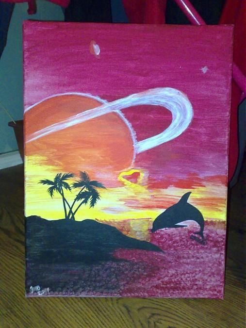 Delfin A More Slniecko Ingridka Sashe Sk Handmade Obrazy